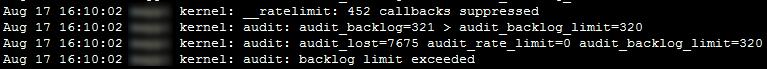 """Linux audit """"Backlog limit exceeded"""" 1"""